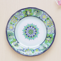"Wary Cynthia Rowley Melamine 11"" Dinner Plates Medallion Scroll Blue"