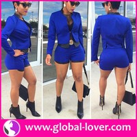 Paypal accept royal blue long sleeve coat and short pants ladies office wear