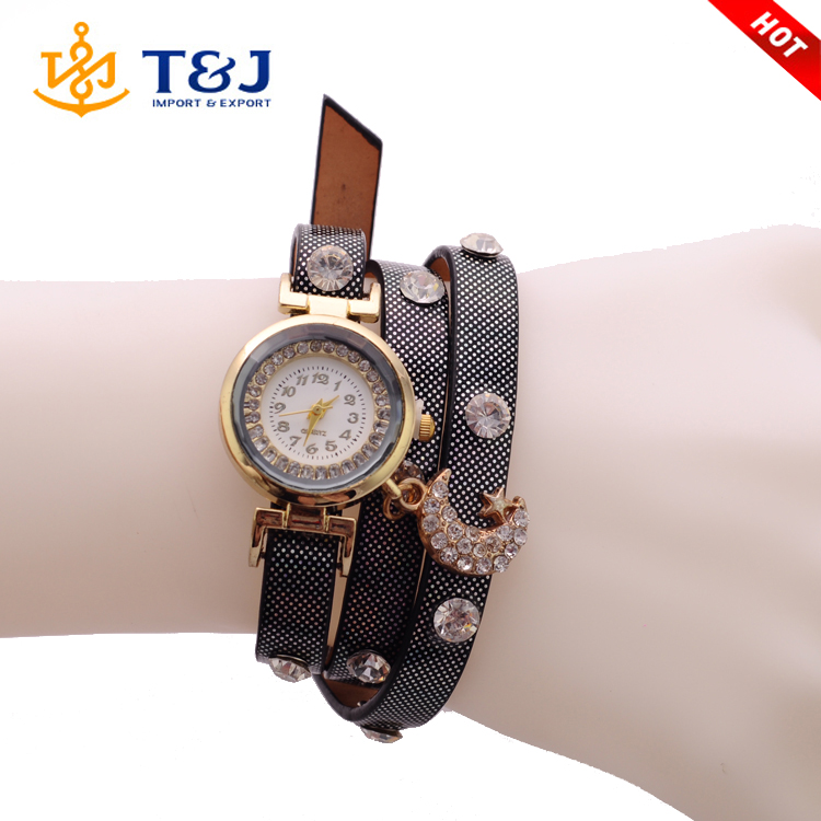 Top sale new fashion women quartz watch european style gold plated brown leather moon diamond jewelry wrist women watch