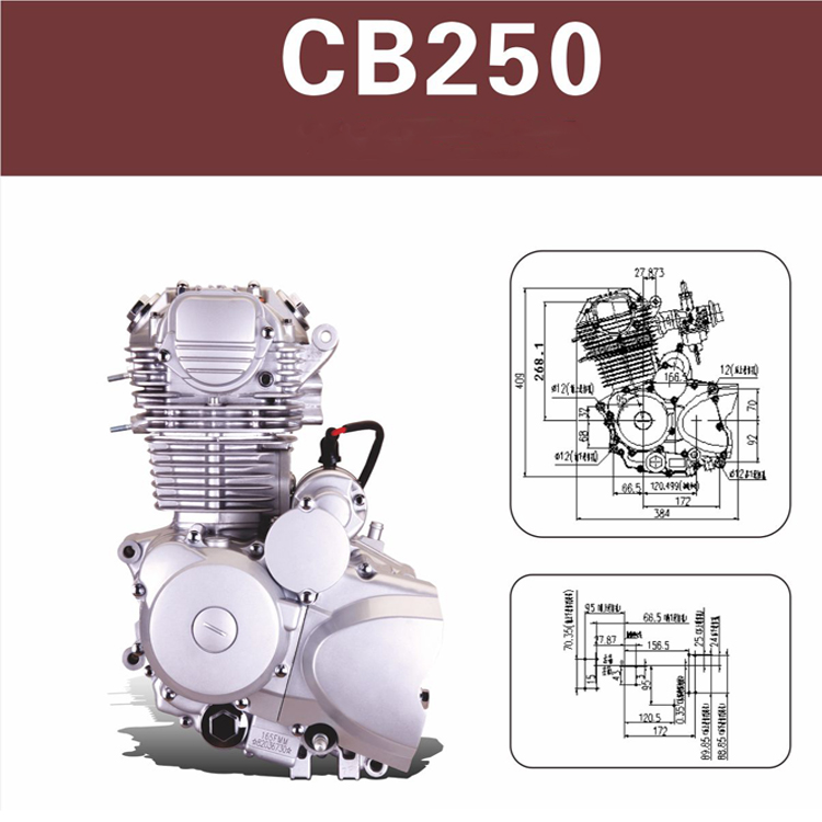 Best selling 4-stroke Air-cooled CB250 Motorcycle Engine