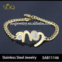 Sweety LOVE Link Charms Women Jewelry Bracelet with Fashion Stainless Steel Figaro Chain