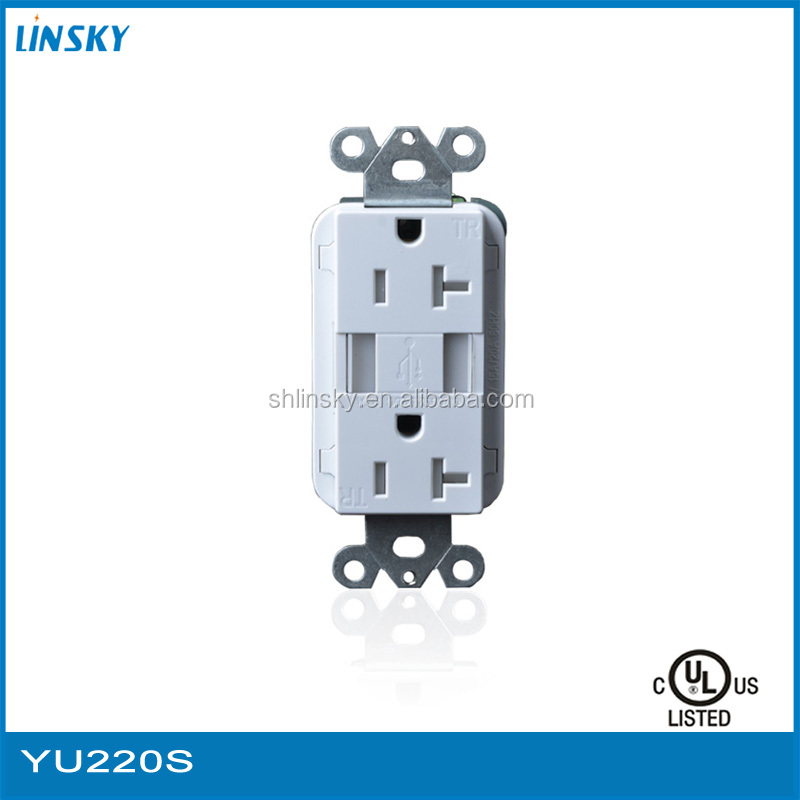 UL listed US AC Power Socket with 2 USB electrical outlets mobile phone wall charger
