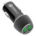 2 port 5v 9a output usb car charger,QC3.0 mini car solar charger,in car usb charger QC3.0