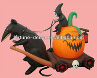 270cmL inflatable Halloween decoration mouse pulling a pumpkin carriage