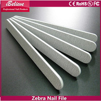 ibelieve hot sale professional zebra abrasive emery board 14cm glass nail file for nail salon