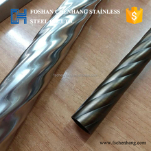 201 304 hairline surface corrugated spiral 28mm diameter stainless steel tube for stair handrail decoration