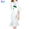 Yihao Wholesale 2017 latest new dress woman ladies fashion slim elegant embroidery half sleeves white tight dress