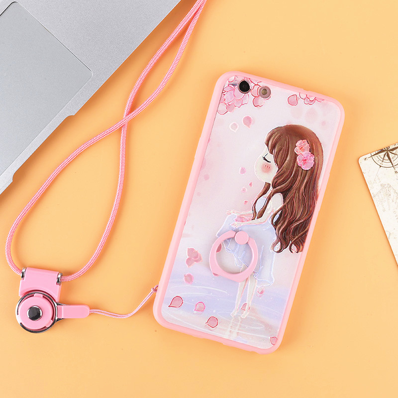 Embossing light pink cute girl printing plastic mobile phone cover For OPPO R9s / R9s Plus Protector Shell