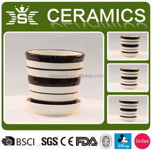 simple style stripes ceramic flower pots for sale