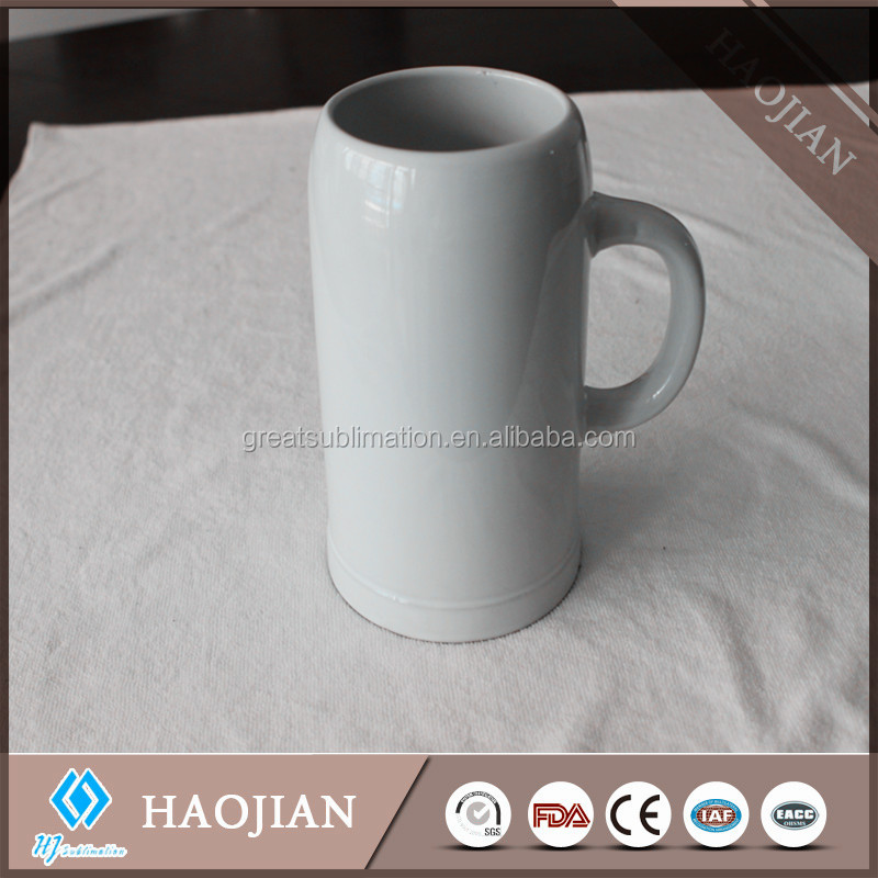 China ceramic beer steins for sale plain white ceramic beer mug 1000ml