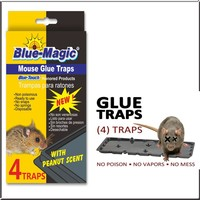 Blue Magic Non-poisonous glue for mouse trapping black plastic board rat traps including 4 traps