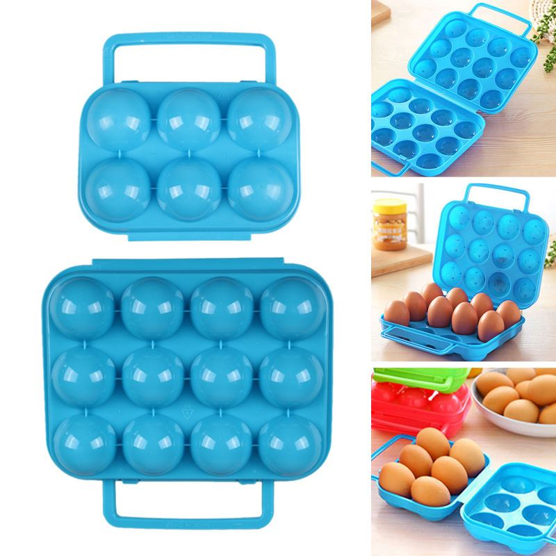 Portable Carry Plastic 6/12 Eggs Storage Box Container Holder Case Folding Basket Kitchen Gadgets Items Supplies