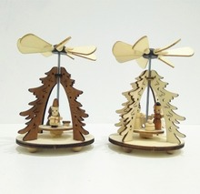 Small wood handicrafts Christmas windmill ornament