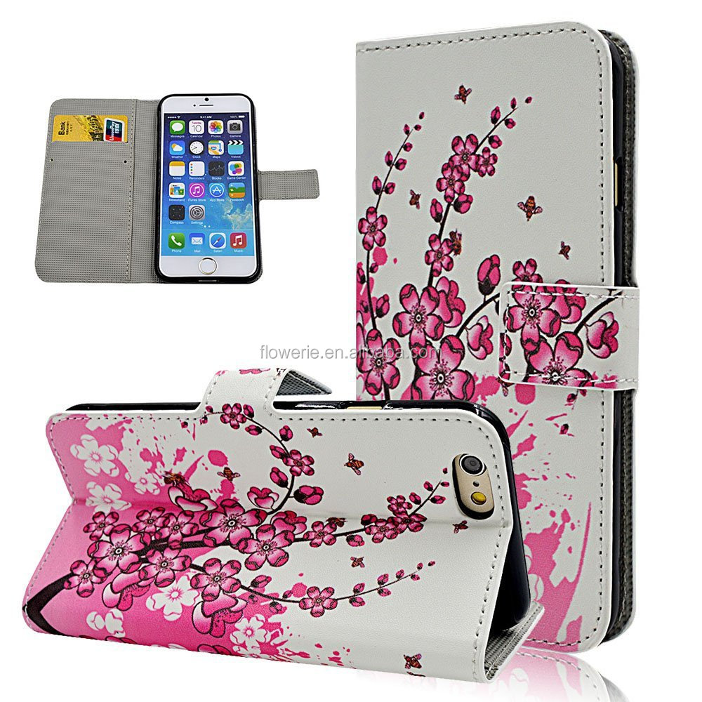 FL2541 Seedan Fly Butterflies Flip Leather Wallet White Case for iPhone 6 Magnetic Clasp Card Holder Design Handbag Cover Pouch
