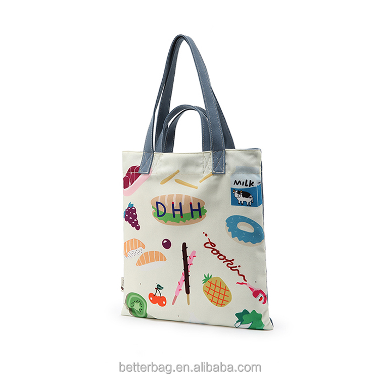 Custom Logo Print Promotional Standard Size Cotton Canvas Tote Bag