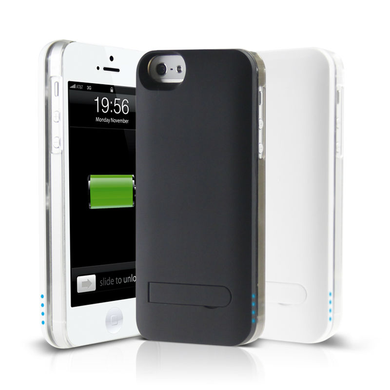 2013 hot selling 2 in 1 rechargeable battery case for iphone5 unique design charger case for iphone5 built-in battery with stand
