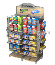 Movable Metal Frame Wire Hook Wood Shelving Retail Display Supplies Sweet Shop Candy Display Stands