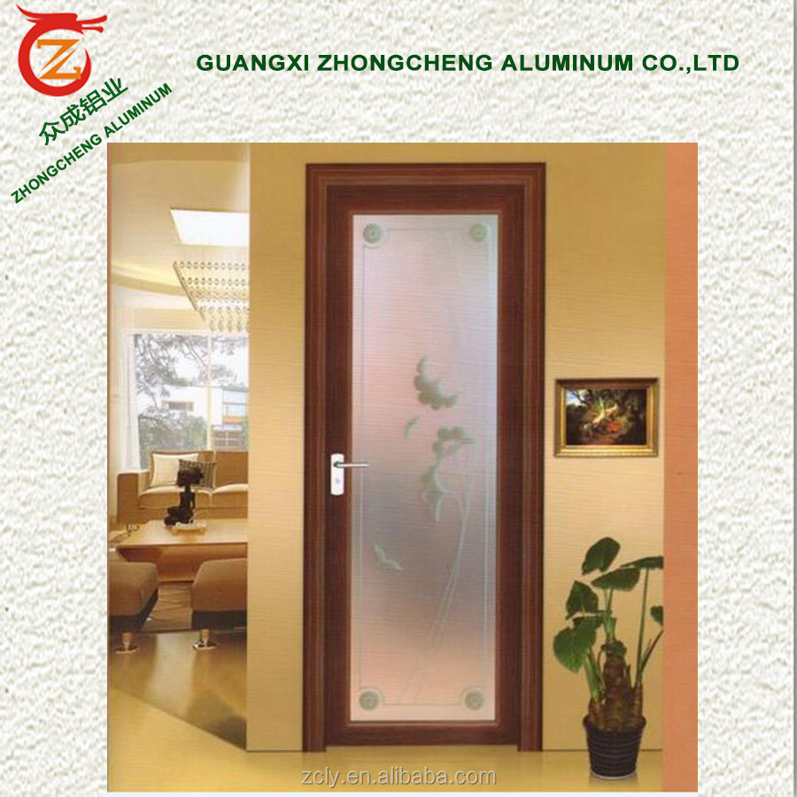 House modern frosted interior opague glass door design aluminium toilet door / decorative bathroom doors at cheap price