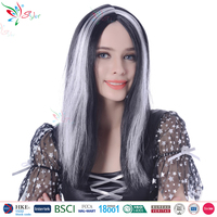 Styler Brand wholesale cheap straight synthetic hair wigs party black grey ombre wig