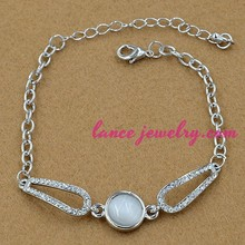 Italy Roma style white opal and crystal decoration with thin chain opal bracelet