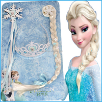 Frozen Princess plastic crown snowflake scepter wand long braid wig, elsa hair accessories set