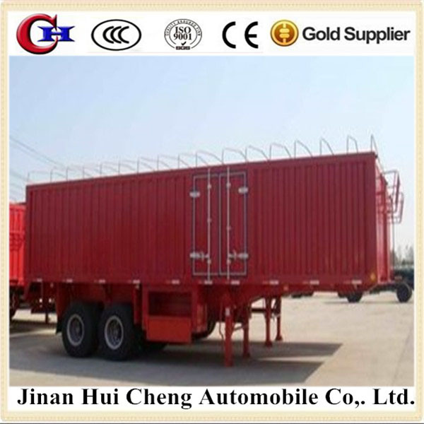 China Manufacture Heavy duty Tri-axle van/box cargo trucks trailers for hot sale