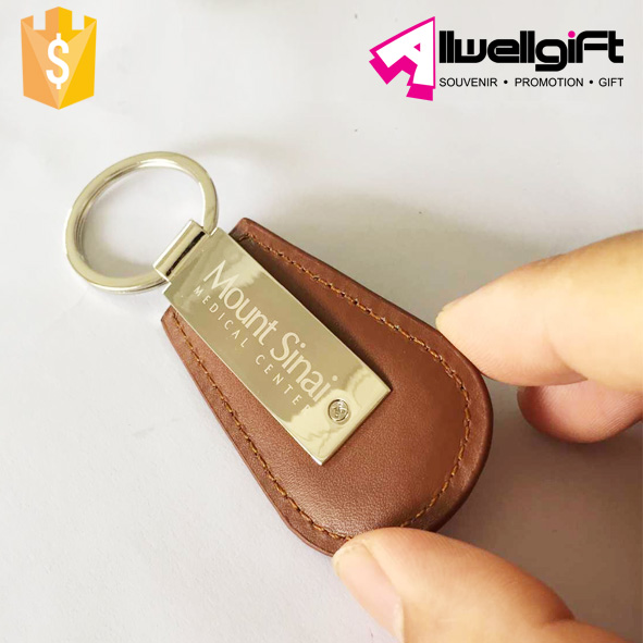 Oval Leather Key chain Customized laser logo metal leather key fob
