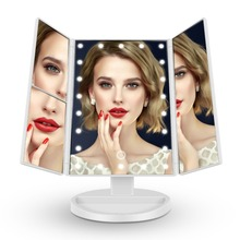 2018 Private Label Vanity Led Lighted Travel Makeup Mirror Desktop Folding Make Up Mirror With Lights