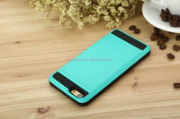 Low Price Green color Slim Armor Case Shockproof Mobile Phone Card Holder Back Slide Cover For iPhone 6S