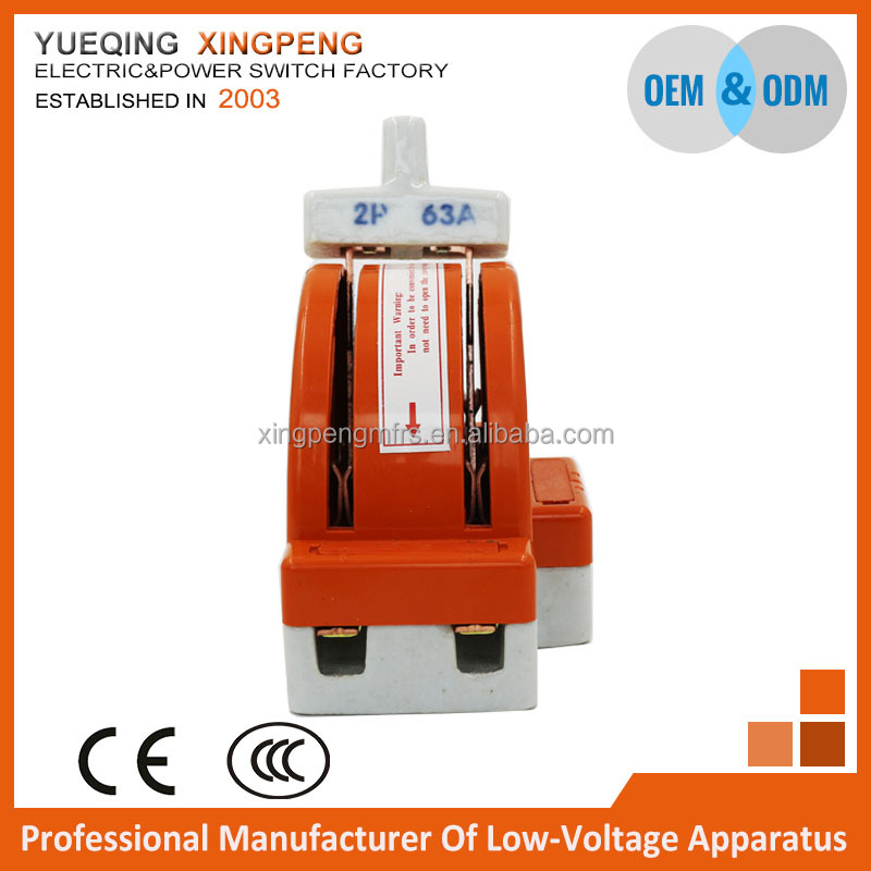 Double throw knife switch,ceramic knife switch 2 pole 63amp 220v with CE CCC certificate,sample for free