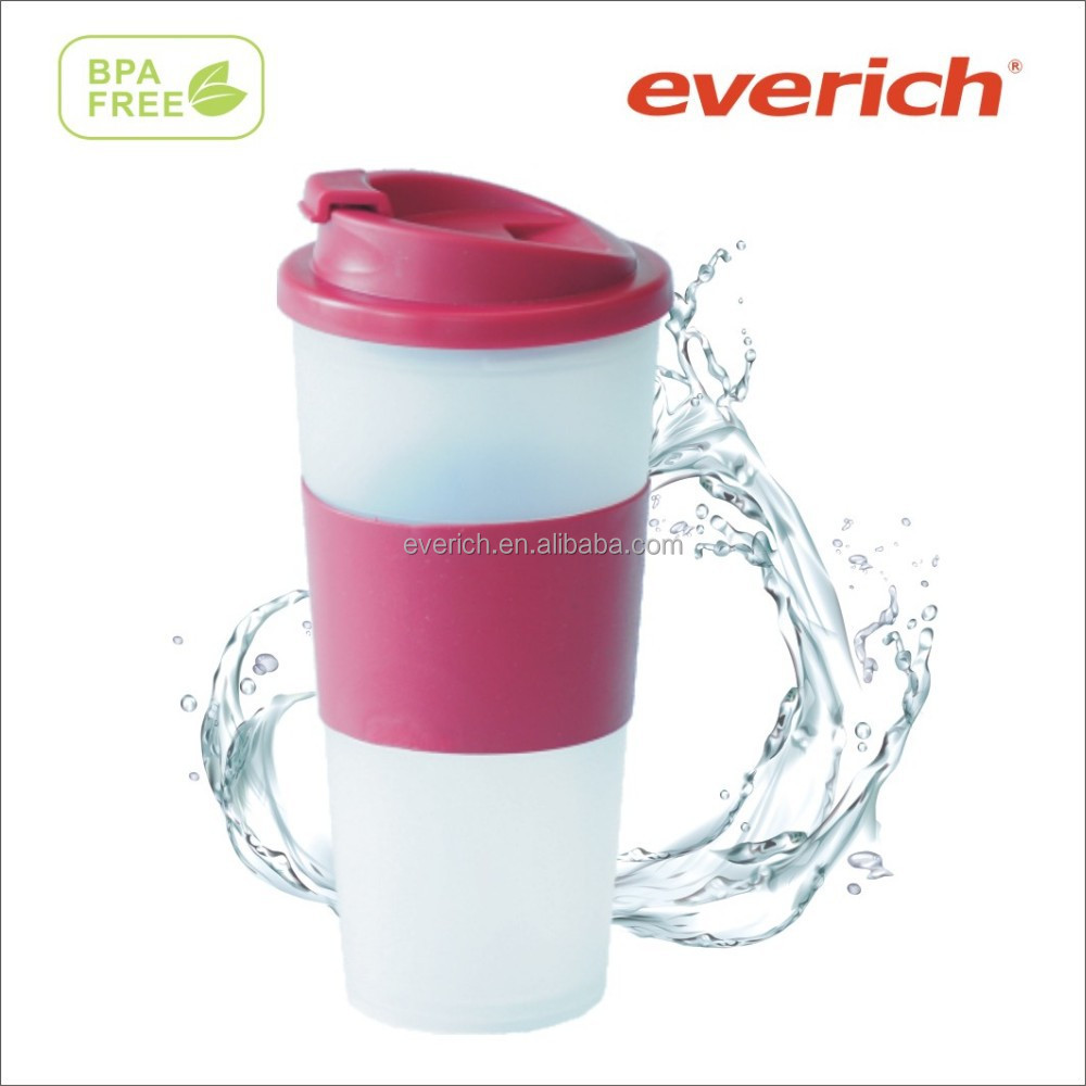 16oz double wall PP plastic coffee mug with leakproof flip lid full color printing