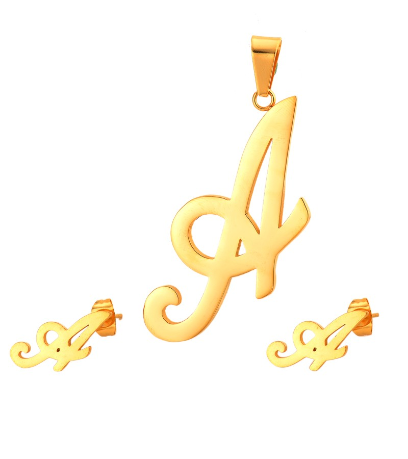 big size personalized custom initial letter dubai 18k gold plated stainless steel jewelry <strong>sets</strong>