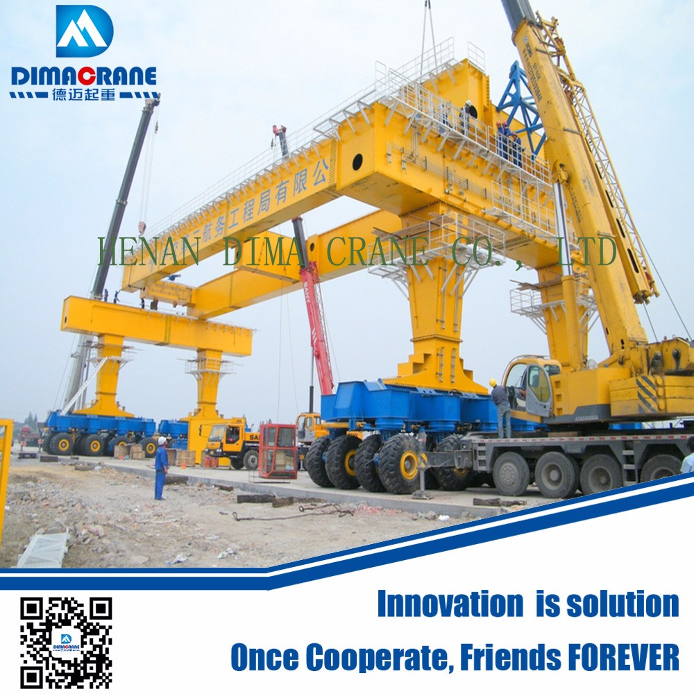 800 ton Rubber tyre bridge girder straddle carrier for high speed railway building