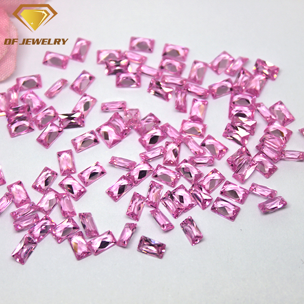 Baguette Cut Cubic Zirconia Synthetic Pink CZ Gemstone