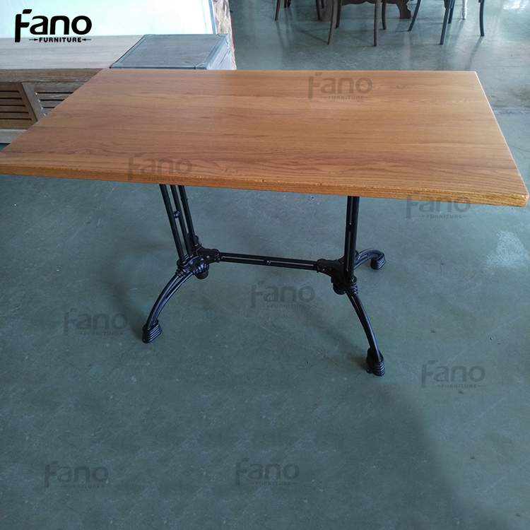 restaurant industrial solid oak wood dining table set
