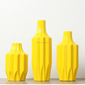 wholesale 3-pieces Contracted ceramic geometric design vase yellow