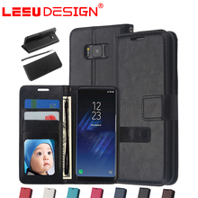 LEEU DESIGN 2017 cover Leather Wallet Case with 3 slots for samsung galaxy s8