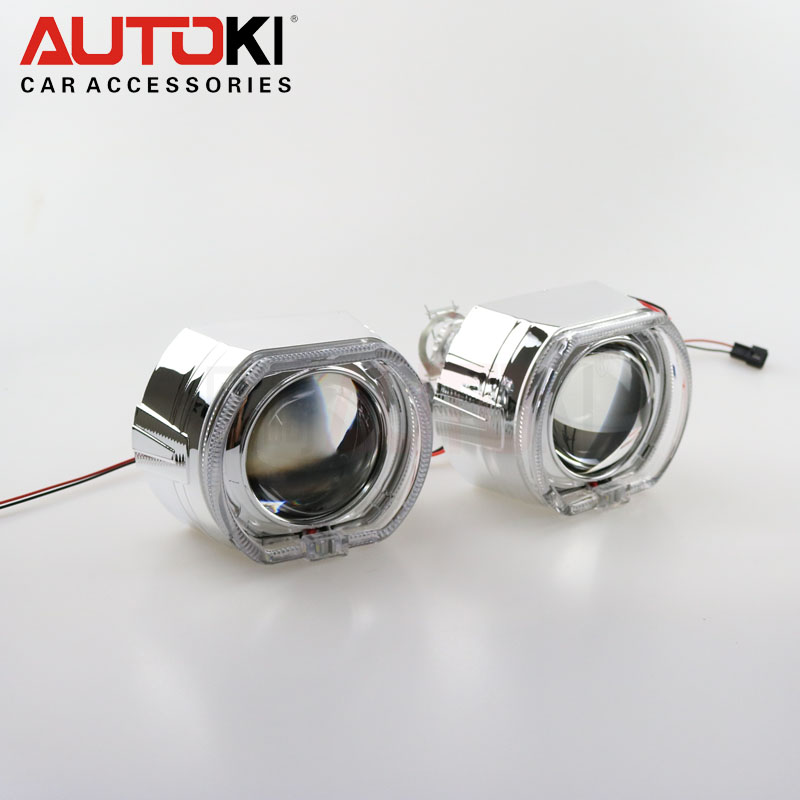 Autoki led DRL square Crystal halo rings angel eye 2.5 inch Mini X5 H1 bi-xenon projector lens