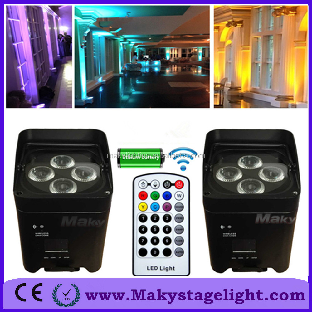 Freeshipping guangzhou wireless mini projector 4x18W rgbwa uv battery powered led dmx flat remote control par can 12Lights+case