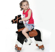 Hot sale CE black and white plush rocking horse, commercial animal scooter,Children rocking horse