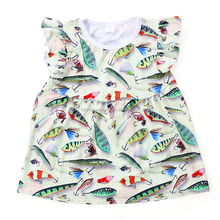 Colorful fishes printed kids boutique shirts 3d printing t-shirt