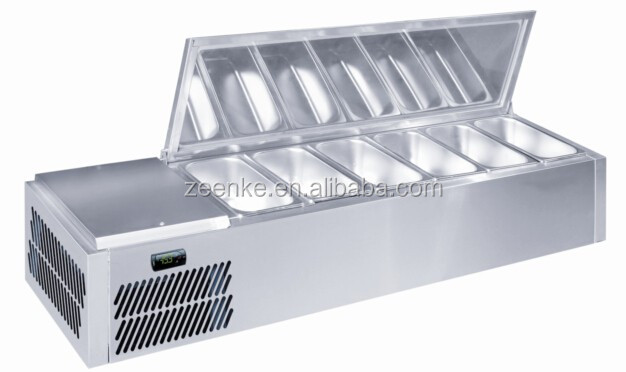 Commercial counter top salad bar/Salad display chiller with stainless steel lid