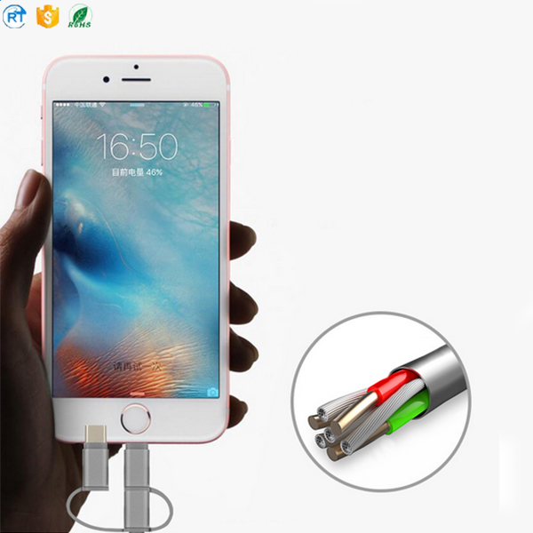 woven fabric metal shell charger Cable 3in1 Micro USB Type-C and 3in 1 multi connectors Cables
