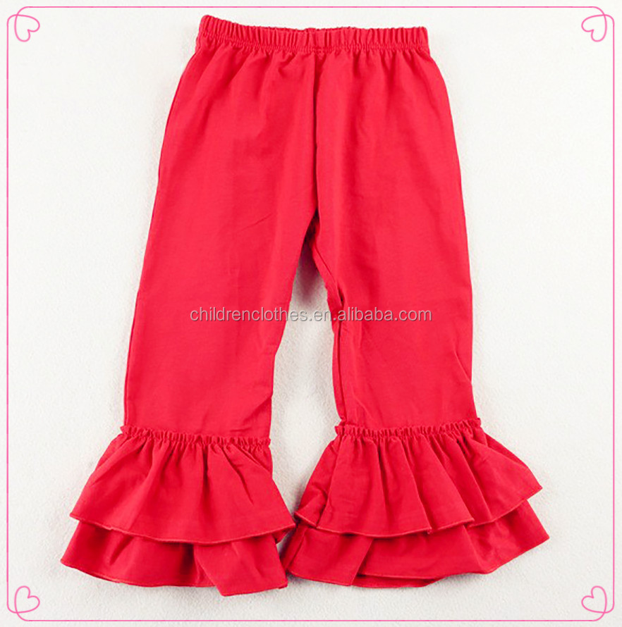 baby children wholesale sweet girl Red Ruffle Flower Knit Fabric
