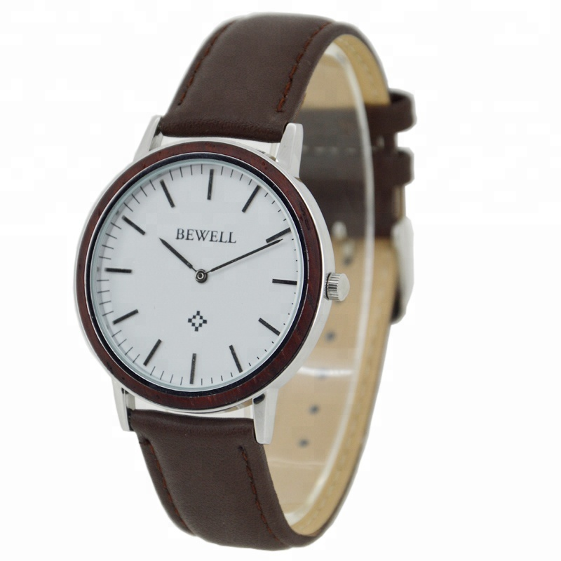 2019 Handmade Mens thin case steel and Wood Genuine Leather Band Natural Wooden Watch