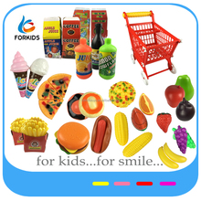 66PCS KID'S PLASTIC SUPERMARKET CART TOY SET,COOKING AND FOOD PLAYING TOYS FOR PRETEND PLAY