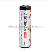 Efan Li-ion 18650 2600MAH 3.7V Protected high capacity battery with flat top