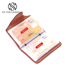 Real Leather Travel Bifold Business Credit Card Case Holder