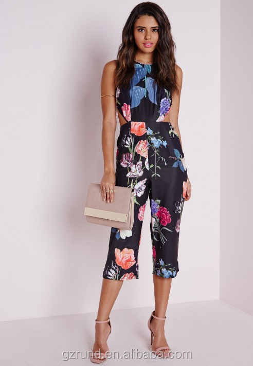 BS60003 CHINA WHOLESALE FLORAL CROSS BACK CULOTTE JUMPSUIT BLACK SEXY LADIES