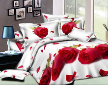 3d big red Rose printed wedding bedding set Duvet/quilt/comforter cover bedsheet Pillowcase sets King Queen Full size
